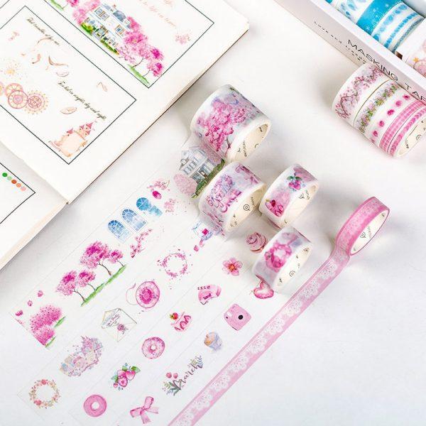 Decorative Washi Tape Cute Flower Masking Tape 100 Pcs/Set