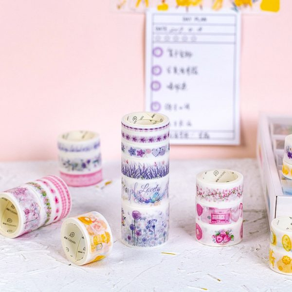 Decorative Washi Tape Cute Flower Masking Tape 100 Pcs/Set