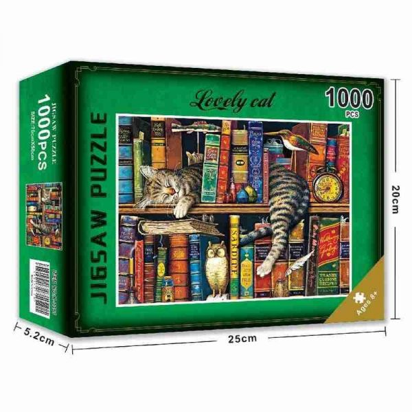 Bookshelf and Cat Jigsaws Puzzles 1,000 Pieces