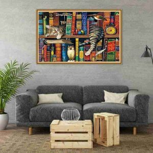 Bookshelf and Cat Jigsaws Puzzles