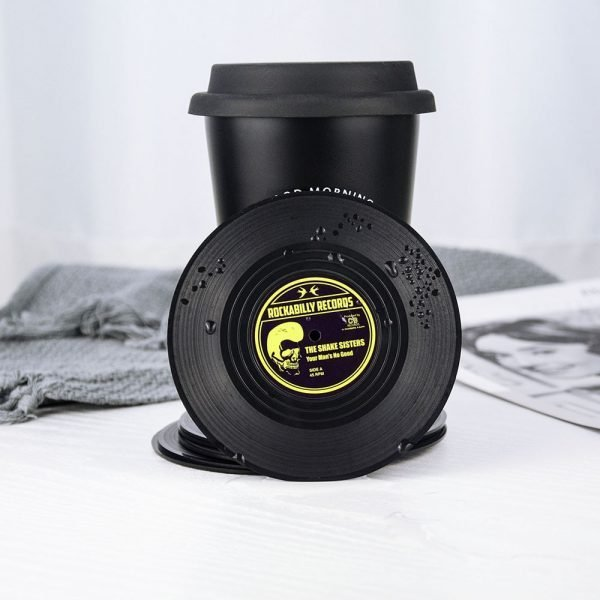 Plastic Vinyl Record Coaster Cup Mat 4 or 6 PCS Sets