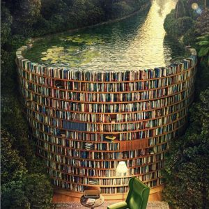 Bookshelf and Canal Jigsaw Puzzle