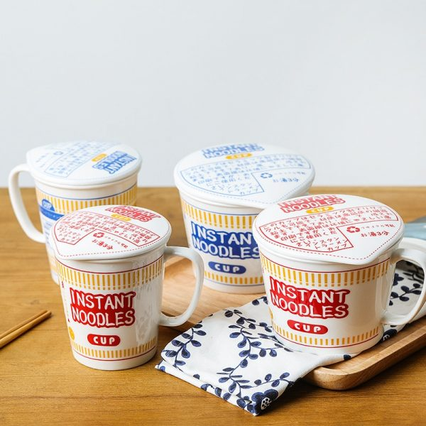 Cup Noodles Ceramic Cup Bowl with Cover